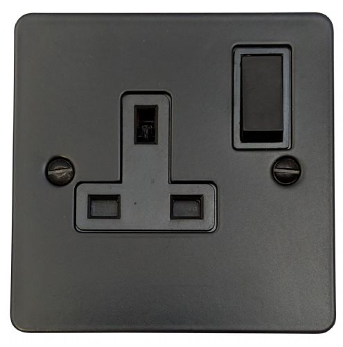 G&H FFB9B Flat Plate Matt Black 1 Gang Single 13A Switched Plug Socket